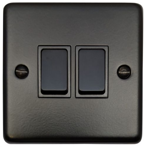 G&H CFB2B Standard Plate Matt Black 2 Gang 1 or 2 Way Rocker Light Switch